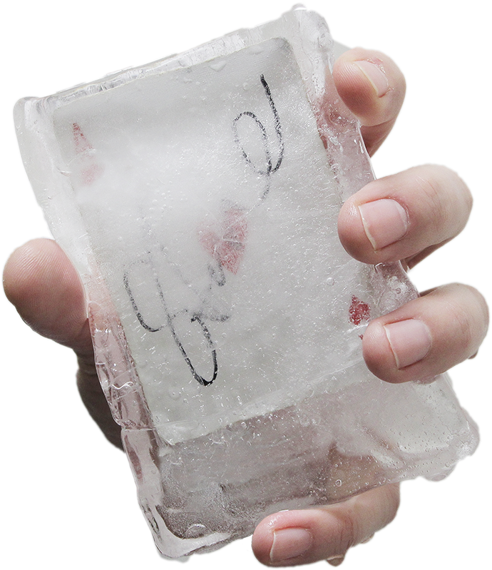 signed_card_in_ice